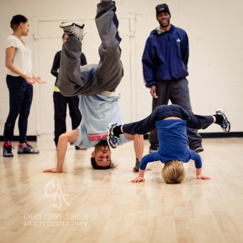 B Boy FaCce and my youngest son in a workshop at The Movement Exchange